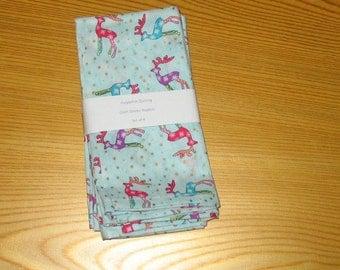 Holiday Reindeer Cloth Napkins Set of 4