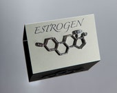 Estrogen Chemical Structure Pin in Sterling Silver