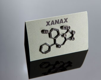 Xanax Chemical Structure Pin in Sterling Silver