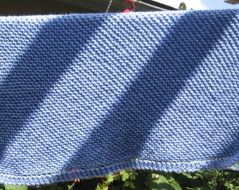 Knit acrylic baby Blanket (light blue)
