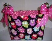 Colorful Owls Snooze Organizer bin / Fabric Basket / Small Diaper Caddy