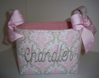 Baby Pink & Grey Taupe Damask Fabric Organizer Bin / Basket - Small Diaper Caddy
