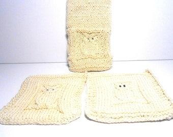 Owl Dish Towel, Dish Cloth, Potholder Kitchen Set