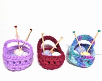 Miniature Knitting Baskets, Mini Baskets, Christmas Decoration, Baskets