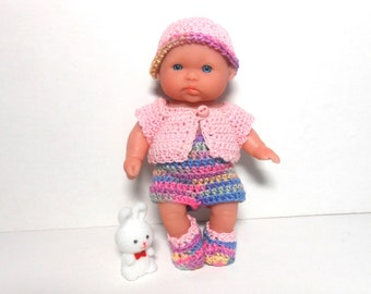 Berenguer Doll In Summer Outfit, Pink Doll Sweater, Crocheted Doll Clothes, 5 Inch Doll Clothes, Lots of Love Doll