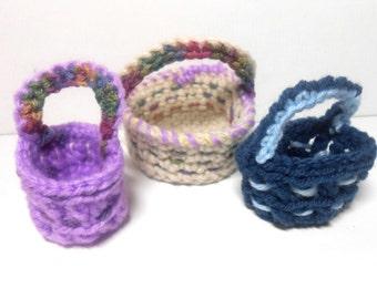 Mini Baskets, Crocheted Baskets, Set of Three Baskets