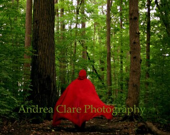 Red Riding Hood, 11x14, Fine Art Photograph, Fairy tale Wall decor, Forrest, Wolf, Photo, Print, Enchanted, Once Upon a Time