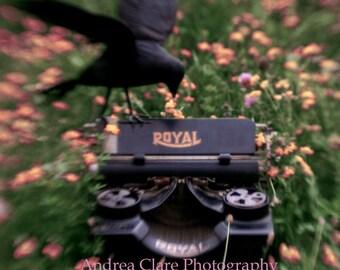 Raven, Fine Art Photograph, Poem Edgar Allan Poe, Typewriter, Nevermore, 5x7, Poetry, writer, print, photo, decor, black bird, suspense