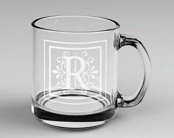1 Personalized Monogram Glass Coffee Mug Custom Engraved