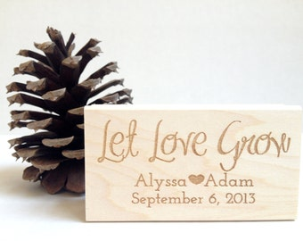 "Let Love Grow. Custom Stamp. 1.5""x3""  Wedding Favors. Made to Order"