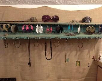 Upcycled Jewelry Organizing Display (Robin's Egg Blue Rack)