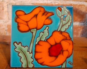 "6""x6"" Hand Glazed Decorative Tile Coaster Trivet Orange Desert Poppies"