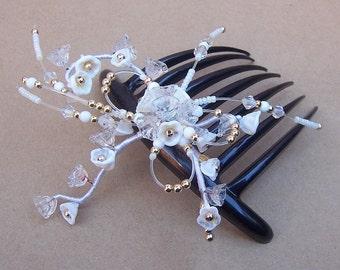 French Twist Hair Comb - Venetian Glass Beads - Hair Accessory - Hair Pin - Hair Pick  (AAE)