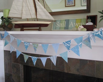 Cool Aqua Blue  Banner Coastal Garland