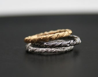 Beading hysteria - ONE solid 14K gold narrow ring