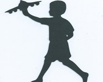 Boy with airplane silhouette