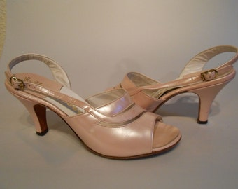 Miss Taylor to Costume Department - 1950s Petal Pink Pearlized Slingback Heels - 7.5M