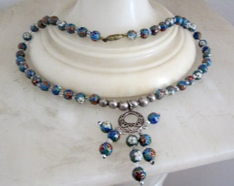 1930 Cloisonne Bead Necklace with Ornate Pendant