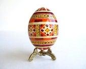 orange chicken egg pysanka,  batik style egg, Ukrainian Easter egg hand painted chicken egg shell