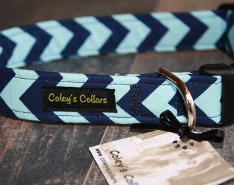 "Blue Chevron Dog Collar ""The Chevron in Blue"" Dog Collar"