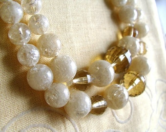 CORO CHOKER NECKLACE Confetti / Topaz faceted bead vtg 1950s 1960s Madmen
