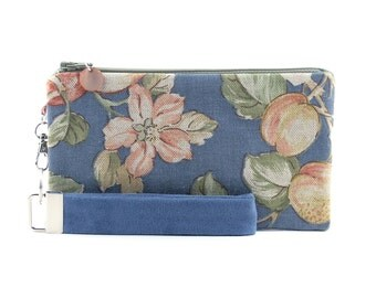 Blue clutch with strap - womens small purse - wristlet bridesmaid gift - floral fabric handbag - small zippered bag - toile pouch & key fob