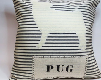 Pug Felt Pillow - White Ivory Felt - Decorative Throw Pillow Cushion Cover