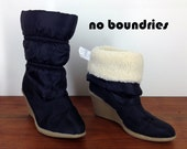 """Black sz. 7 Boots 3"""" rubber wedge soles """"No Boundries"""" faux fur lining puffer vintage"""