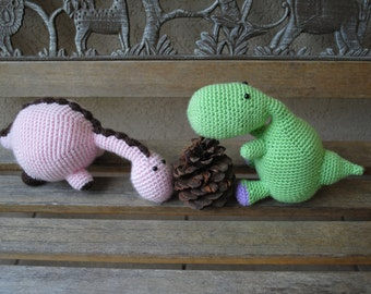 Dinosaur Duo Crochet Patterns (PDF files) for immediate download