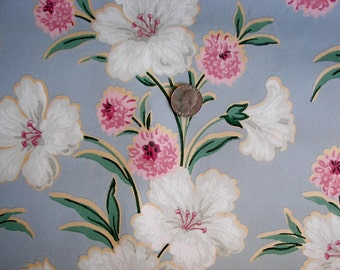 Vintage Wallpaper - Pink and White Flowers on Blue  - 1 Yard
