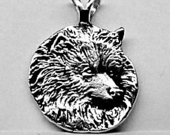 LARGE KEESHOND DOG Pendant Sterling Silver Free Shipping