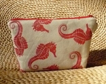Melon Red Seahorses Printed on Canvas Zipper Bag/Clutch Small Size