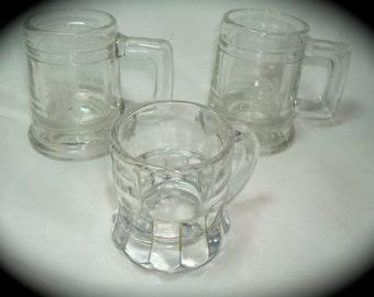 1970s Pressed Glass Shot Glasses Toothpick Holders.