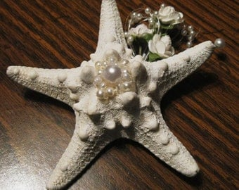 Boutonniere-  Beach Wedding  Starfish with Pearls