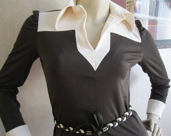 Vintage Chocolate Brown and Ivory Skirt set Small Free shipping
