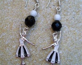 Prima Ballerina - Black and White Czech Glass Earrings