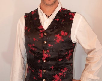 Mens shawl collar brocade Vest steam punk Victorian made to order