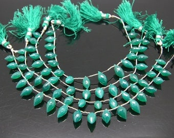 1strand - natural green onyx faceted roi sized 7 by 12mm
