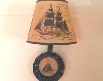Vintage 40s Sailboat Lamp - Schooner Wall Sconce - Painted Shade