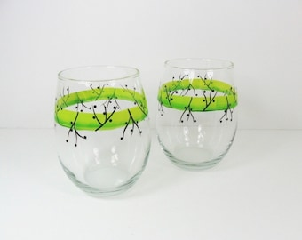 Stemless Wine Glasses Lime Green Hand Painted Set of 2