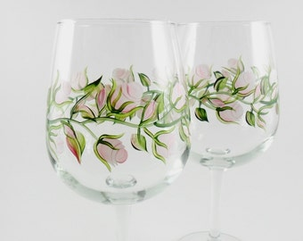 Wine Glasses Hand Painted Wine Glasses Pink Roses Set of 2
