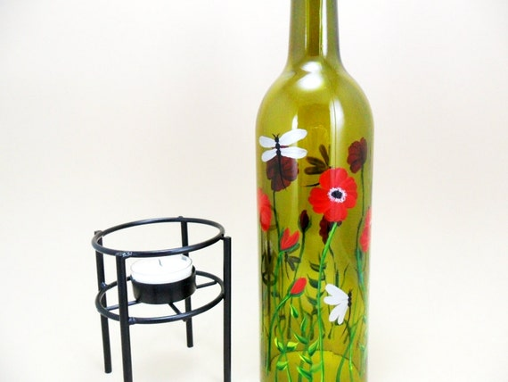 Wine Bottle Candle Holder Hurricane Lamp Red Poppies Dragonflies Hand Painted 750 ml