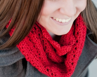 Crochet Pattern, Scarf, Lattice Slouchy Cowl, Loop Scarf - Instant Download Crochet Pattern