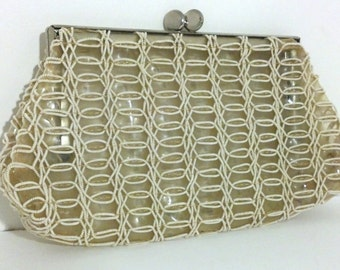 Clear Plastic and Beaded Clutch