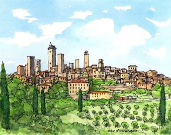 San Gimignano Italy art print  from an original watercolor painting