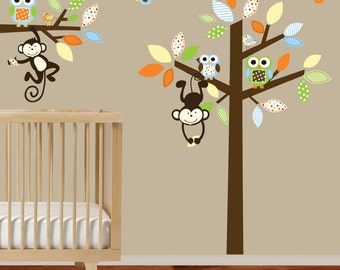 Vinyl Wall Tree Decals with monkeys,owls and birds nursery wall decal stickers