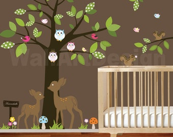 Vinyl Wall decal stickers swing tree set with,owls,birds,deer,bear,fox.woodland animals nursery wall decal