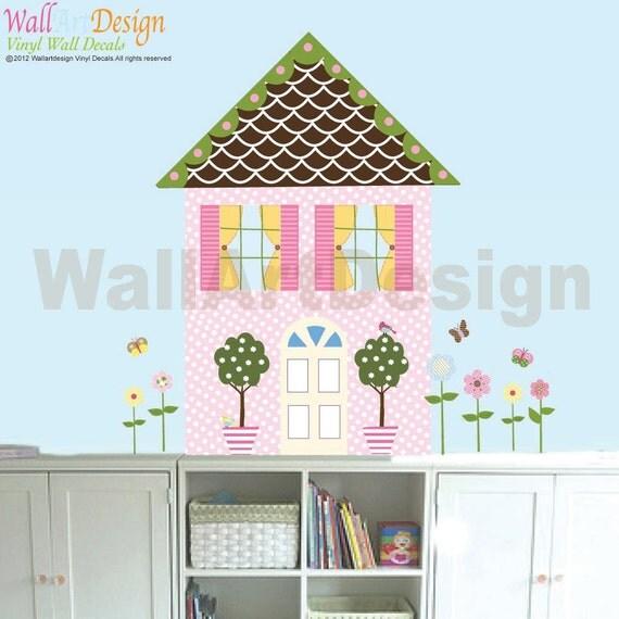 Girls Dollhouse Set  Butterflies Flower Birds Vinyl Wall Sticker Playroom