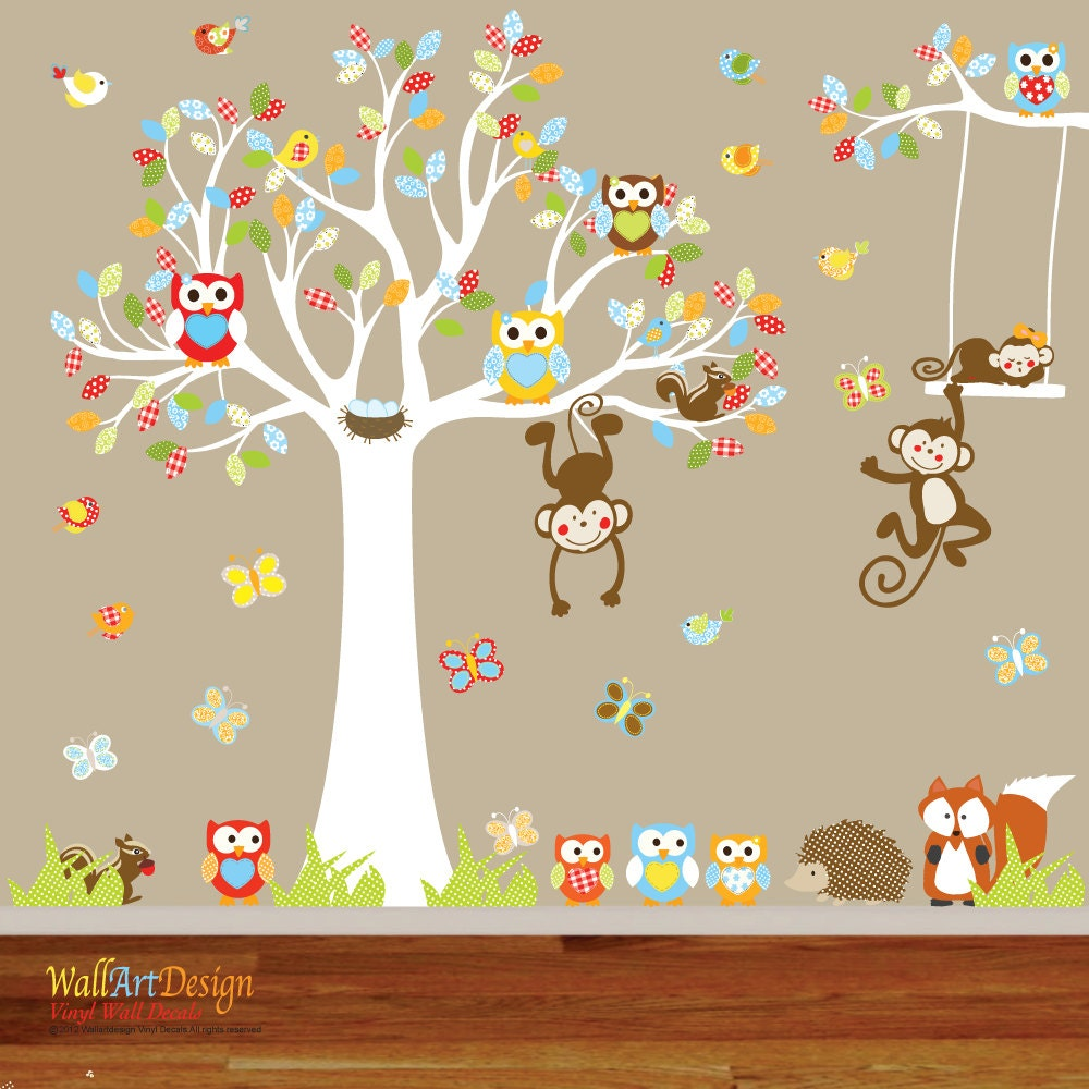 vinyl wall owl tree decal nursery wall stickers by wallartdesign