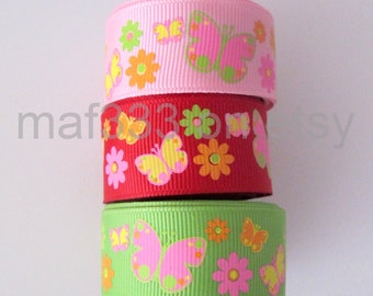 "A0021 - Fifteen (15) YARDS Butterflies on 7/8"" pink, red, and apple grosgrain ribbon  -  for scrapbooking, bowmaking, accessories"